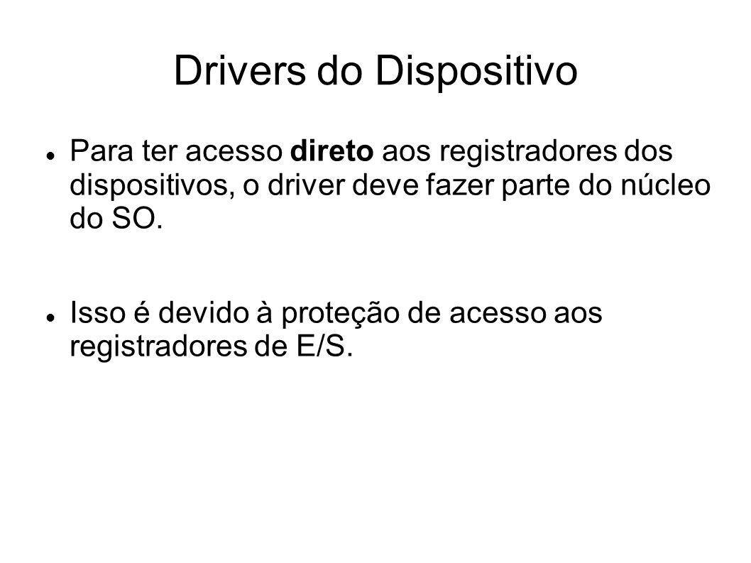 Drivers do Dispositivo Para ter acesso direto aos registradores dos dispositivos, o driver deve fazer parte do núcleo do SO.