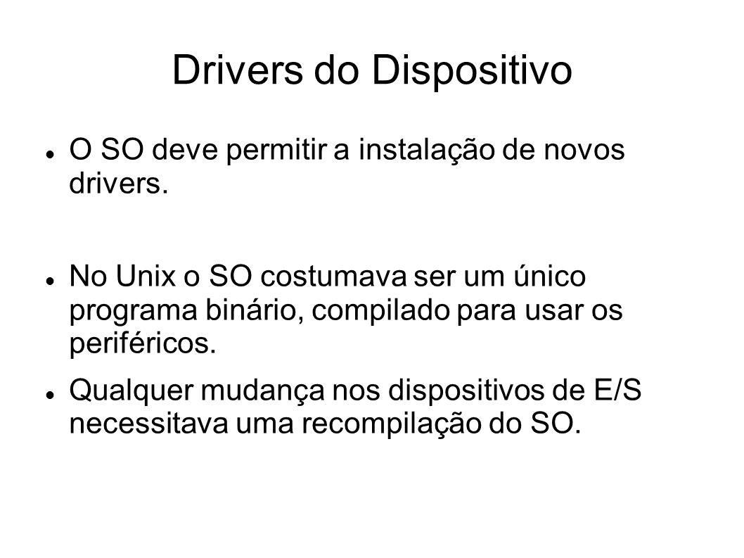 Drivers do Dispositivo O SO deve permitir a instalação de novos drivers. No Unix o SO costumava ser um único programa binário, compilado para usar os