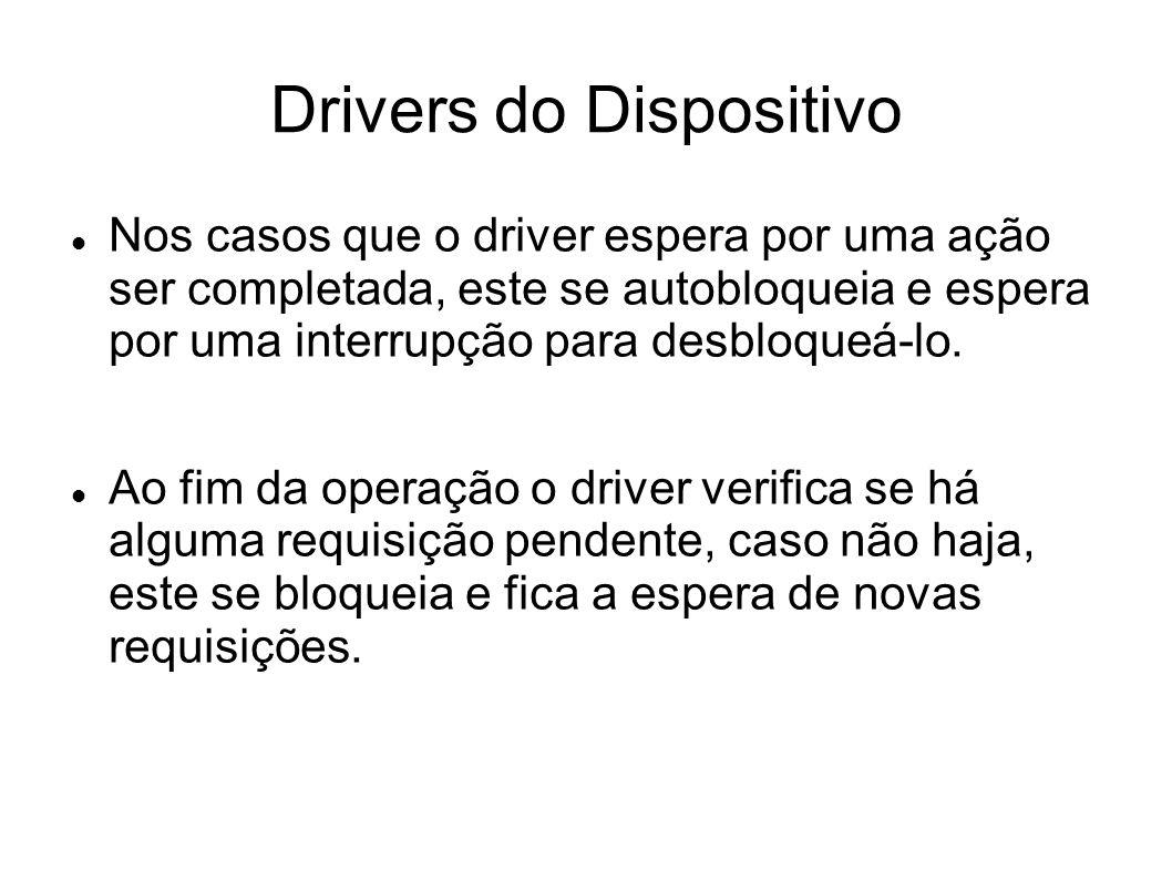 Drivers do Dispositivo Nos casos que o driver espera por uma ação ser completada, este se autobloqueia e espera por uma interrupção para desbloqueá-lo.