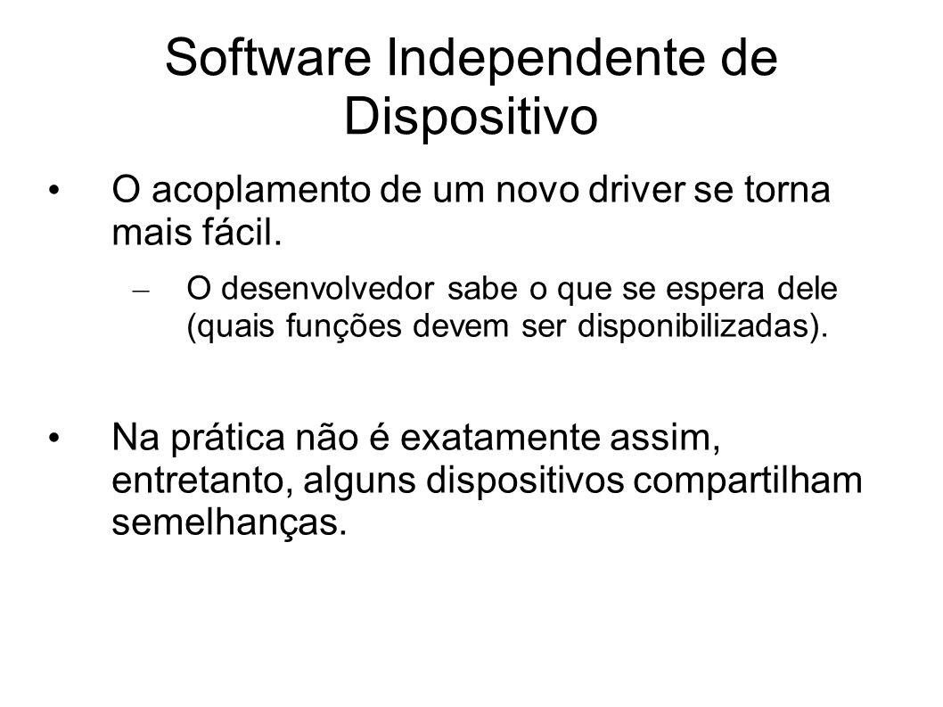 Software Independente de Dispositivo O acoplamento de um novo driver se torna mais fácil. – O desenvolvedor sabe o que se espera dele (quais funções d