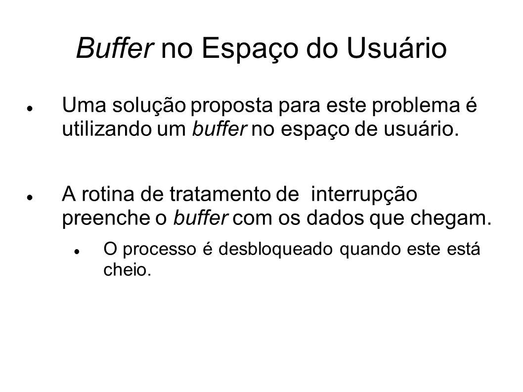 Buffer no Espaço do Usuário Uma solução proposta para este problema é utilizando um buffer no espaço de usuário. A rotina de tratamento de interrupção