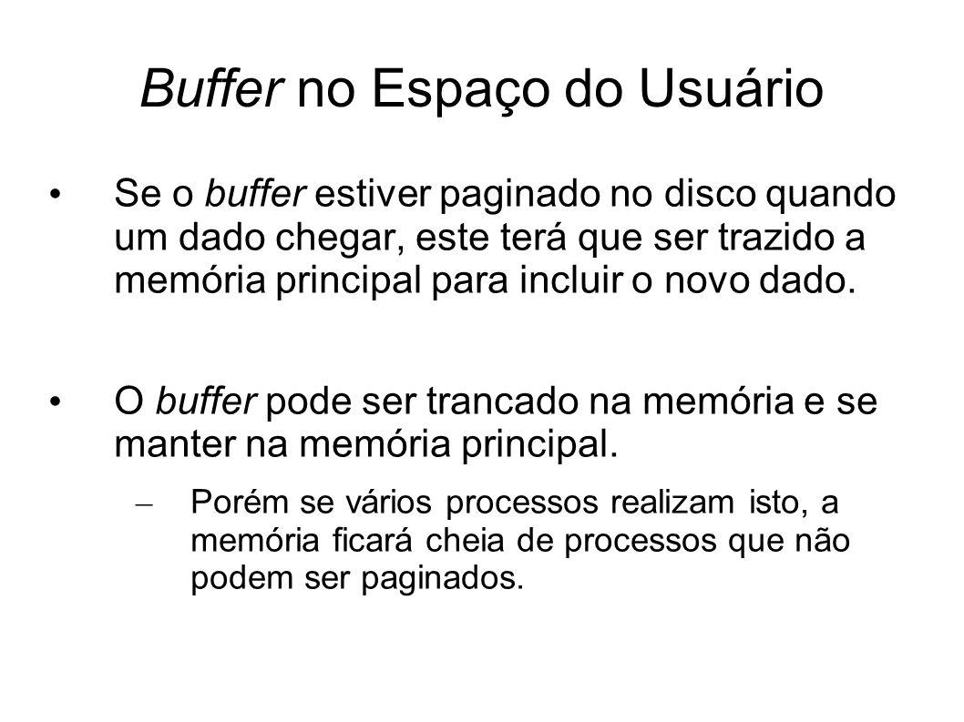 Buffer no Espaço do Usuário Se o buffer estiver paginado no disco quando um dado chegar, este terá que ser trazido a memória principal para incluir o novo dado.