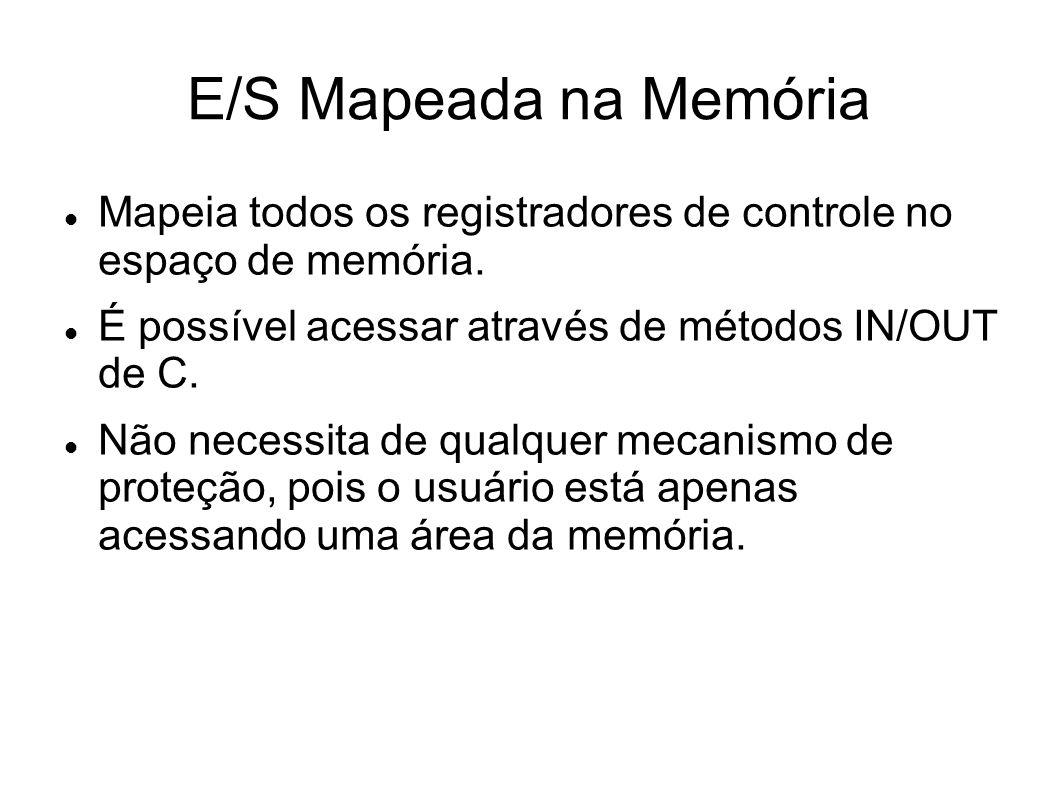 E/S Mapeada na Memória Mapeia todos os registradores de controle no espaço de memória.