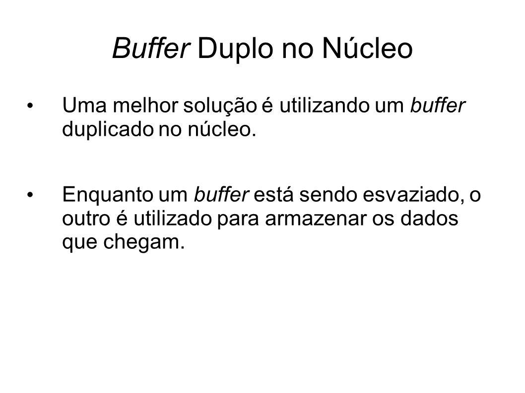 Buffer Duplo no Núcleo Uma melhor solução é utilizando um buffer duplicado no núcleo. Enquanto um buffer está sendo esvaziado, o outro é utilizado par