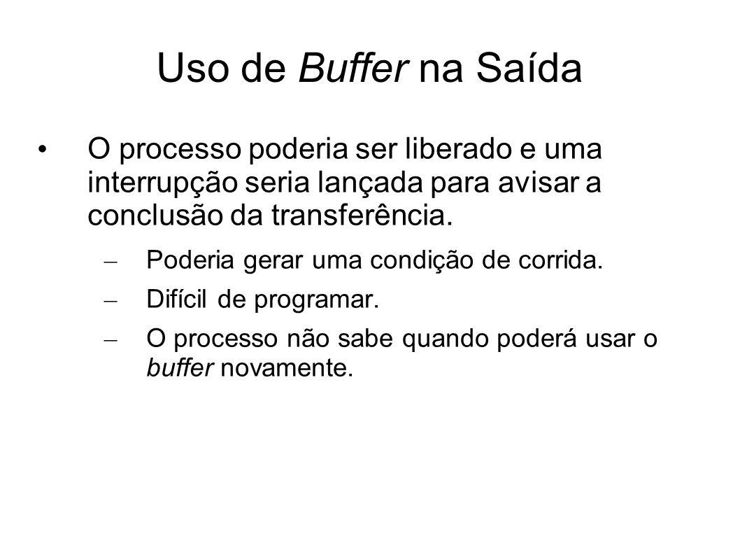 Uso de Buffer na Saída O processo poderia ser liberado e uma interrupção seria lançada para avisar a conclusão da transferência. – Poderia gerar uma c