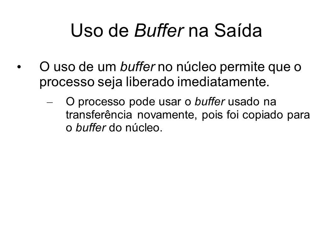 Uso de Buffer na Saída O uso de um buffer no núcleo permite que o processo seja liberado imediatamente. – O processo pode usar o buffer usado na trans
