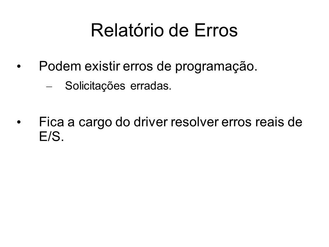 Relatório de Erros Podem existir erros de programação. – Solicitações erradas. Fica a cargo do driver resolver erros reais de E/S.