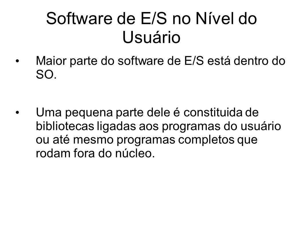 Software de E/S no Nível do Usuário Maior parte do software de E/S está dentro do SO. Uma pequena parte dele é constituida de bibliotecas ligadas aos