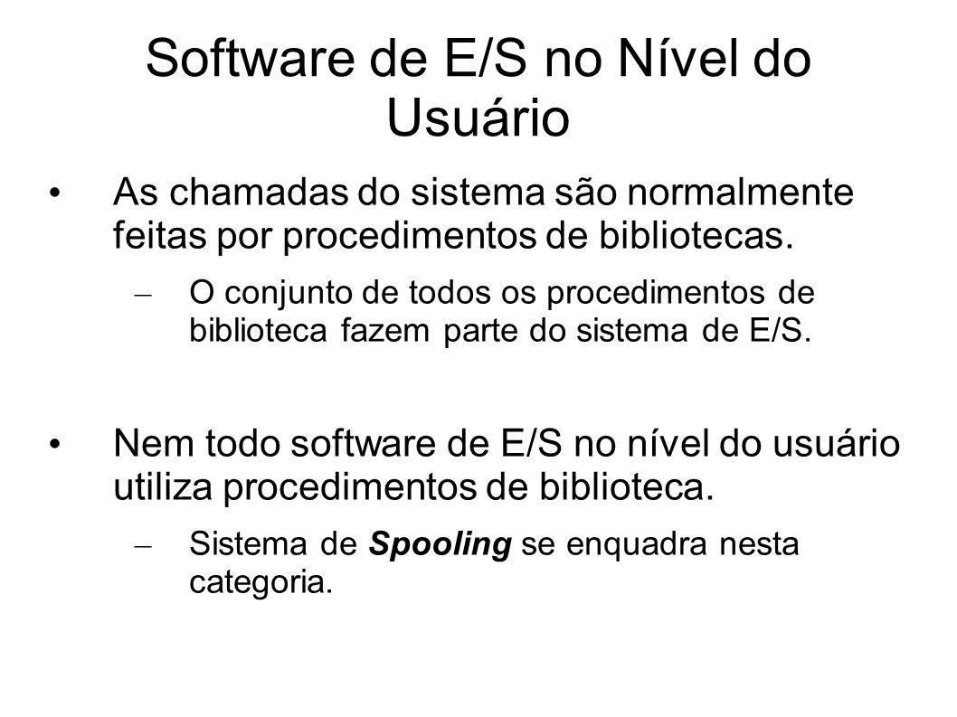 Software de E/S no Nível do Usuário As chamadas do sistema são normalmente feitas por procedimentos de bibliotecas. – O conjunto de todos os procedime