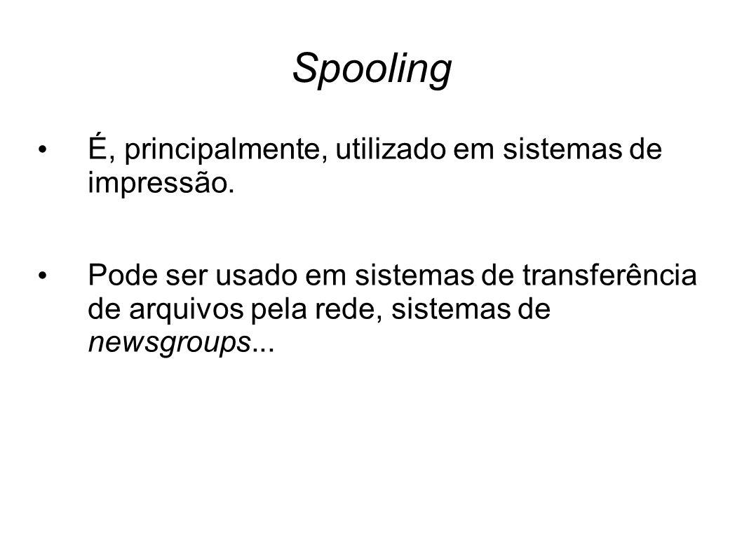 Spooling É, principalmente, utilizado em sistemas de impressão. Pode ser usado em sistemas de transferência de arquivos pela rede, sistemas de newsgro