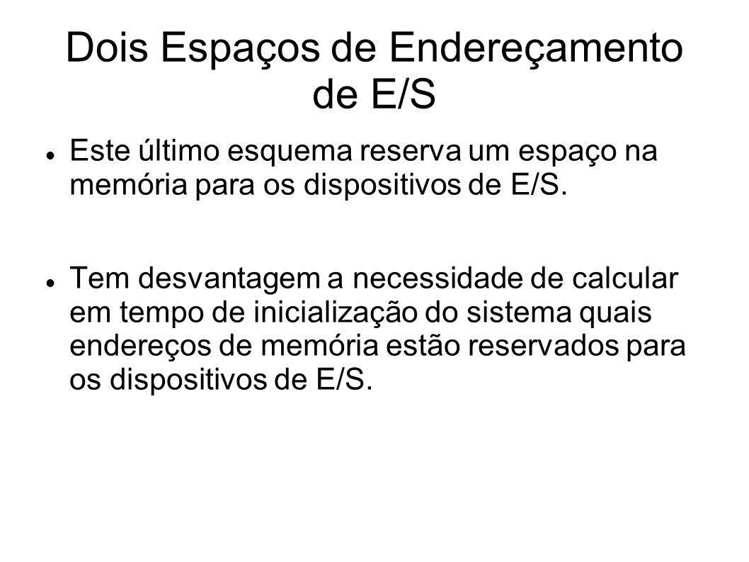 Dois Espaços de Endereçamento de E/S Este último esquema reserva um espaço na memória para os dispositivos de E/S. Tem desvantagem a necessidade de ca