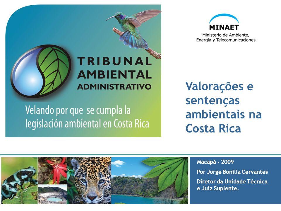 Valorações e sentenças ambientais na Costa Rica Macapá - 2009 Por Jorge Bonilla Cervantes Diretor da Unidade Técnica e Juiz Suplente.