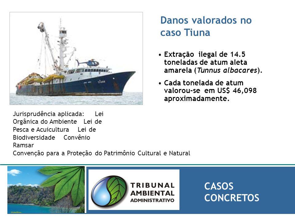 Danos valorados no caso Tiuna CASOS CONCRETOS Extração ilegal de 14.5 toneladas de atum aleta amarela (Tunnus albacares). Cada tonelada de atum valoro