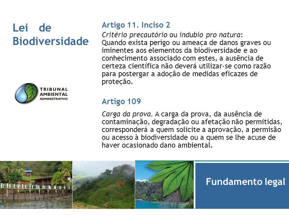 Lei de Biodiversidade Informe de Fundamento legal Artigo 11. Inciso 2 Critério precautório ou indubio pro natura: Quando exista perigo ou ameaça de da