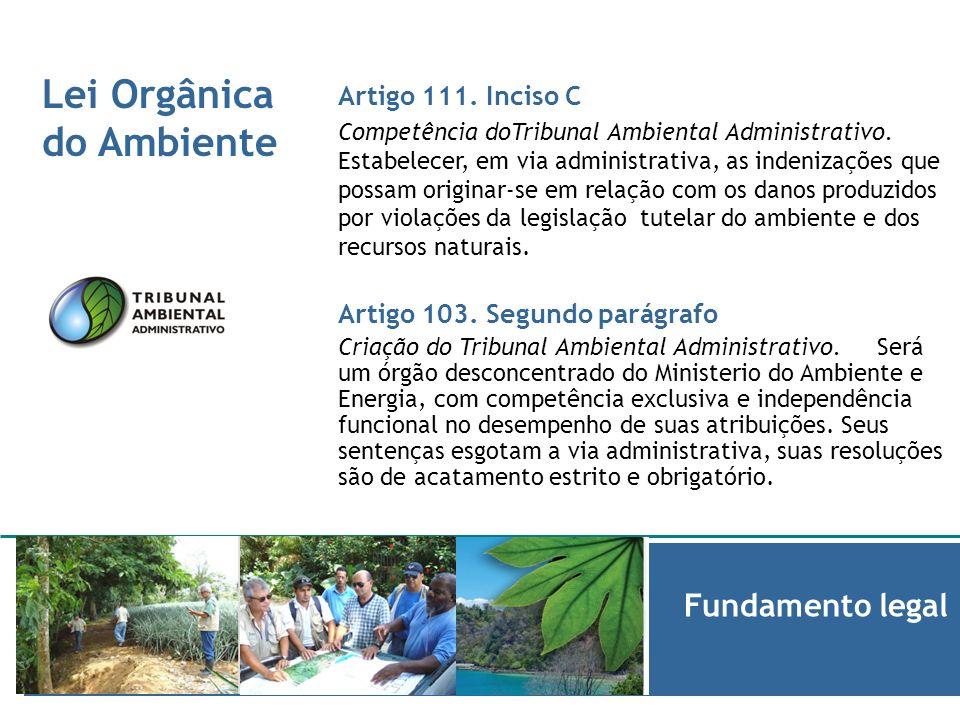 Lei Orgânica do Ambiente Informe de Fundamento legal Artigo 108 Procedimentos do Tribunal Ambiental Administrativo.