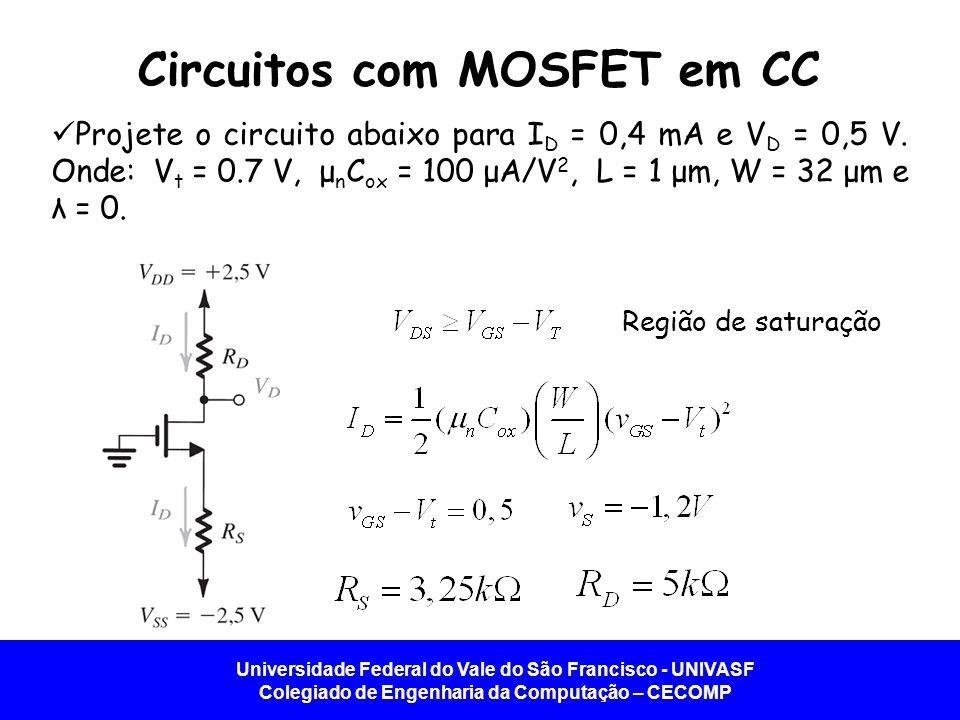 Universidade Federal do Vale do São Francisco - UNIVASF Colegiado de Engenharia da Computação – CECOMP Circuitos com MOSFET em CC Projete o circuito a
