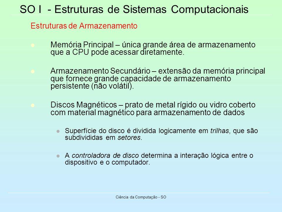 SO I - Estruturas de Sistemas Computacionais Ciência da Computação - SO Estruturas de Armazenamento Memória Principal – única grande área de armazenam