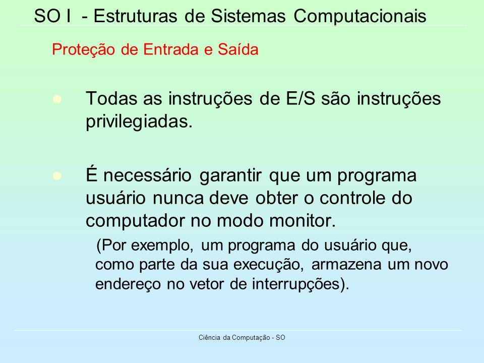 SO I - Estruturas de Sistemas Computacionais Ciência da Computação - SO Proteção de Entrada e Saída Todas as instruções de E/S são instruções privileg