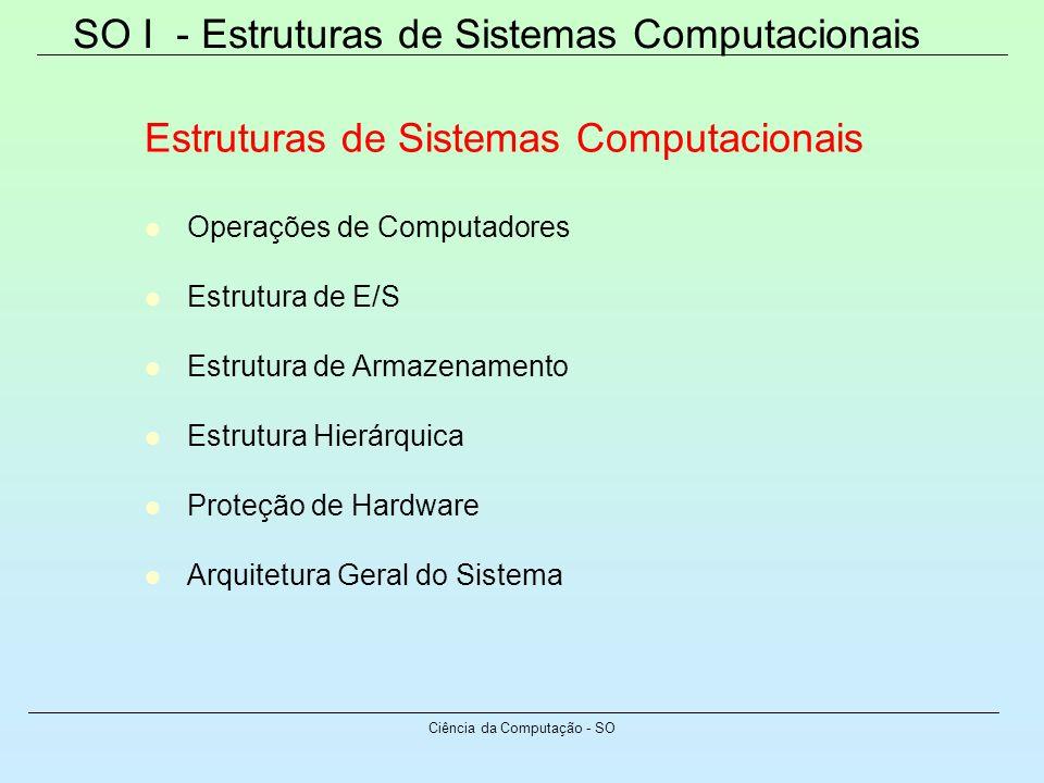 SO I - Estruturas de Sistemas Computacionais Ciência da Computação - SO Estruturas de Sistemas Computacionais Operações de Computadores Estrutura de E