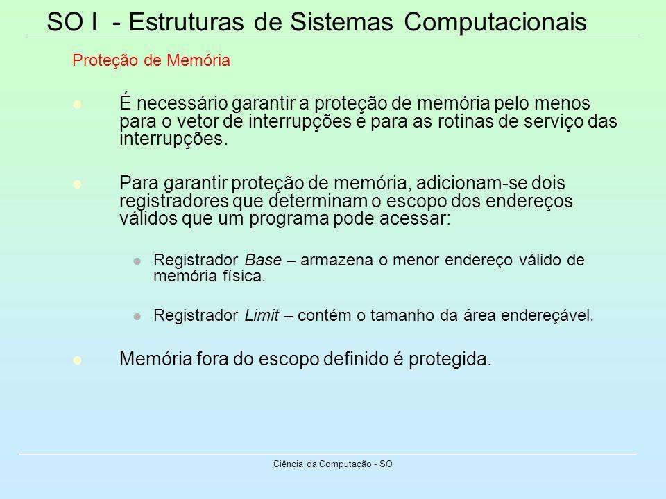 SO I - Estruturas de Sistemas Computacionais Ciência da Computação - SO Proteção de Memória É necessário garantir a proteção de memória pelo menos par