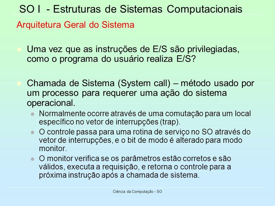 SO I - Estruturas de Sistemas Computacionais Ciência da Computação - SO Arquitetura Geral do Sistema Uma vez que as instruções de E/S são privilegiada