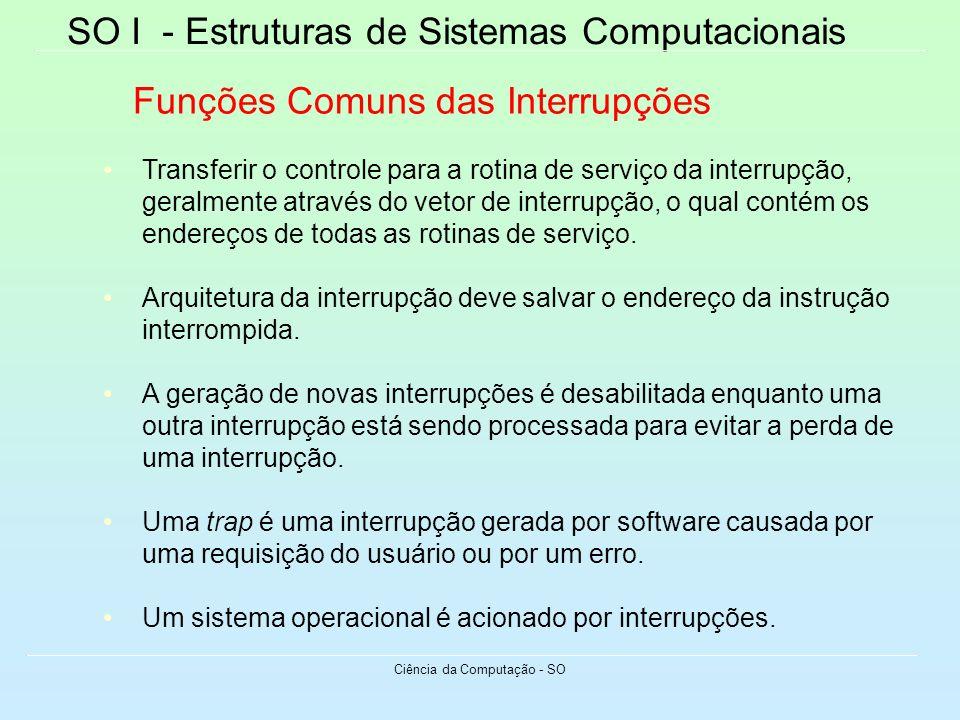 SO I - Estruturas de Sistemas Computacionais Ciência da Computação - SO Funções Comuns das Interrupções Transferir o controle para a rotina de serviço