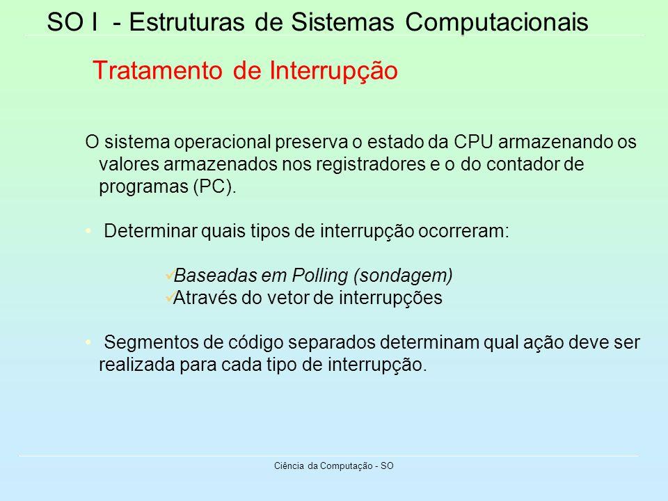 SO I - Estruturas de Sistemas Computacionais Ciência da Computação - SO Tratamento de Interrupção O sistema operacional preserva o estado da CPU armaz