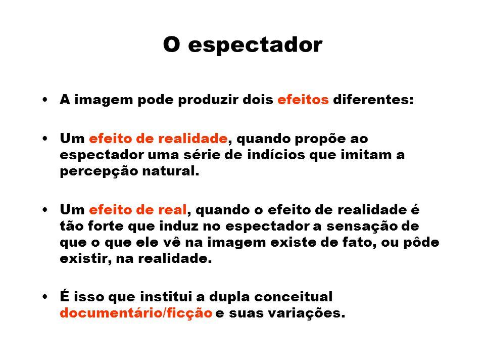 O espectador A imagem pode produzir dois efeitos diferentes: Um efeito de realidade, quando propõe ao espectador uma série de indícios que imitam a percepção natural.