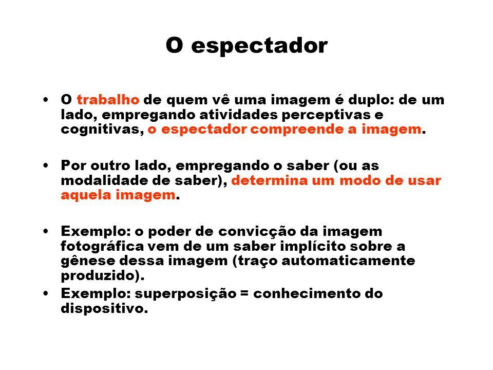 O espectador O trabalho de quem vê uma imagem é duplo: de um lado, empregando atividades perceptivas e cognitivas, o espectador compreende a imagem.