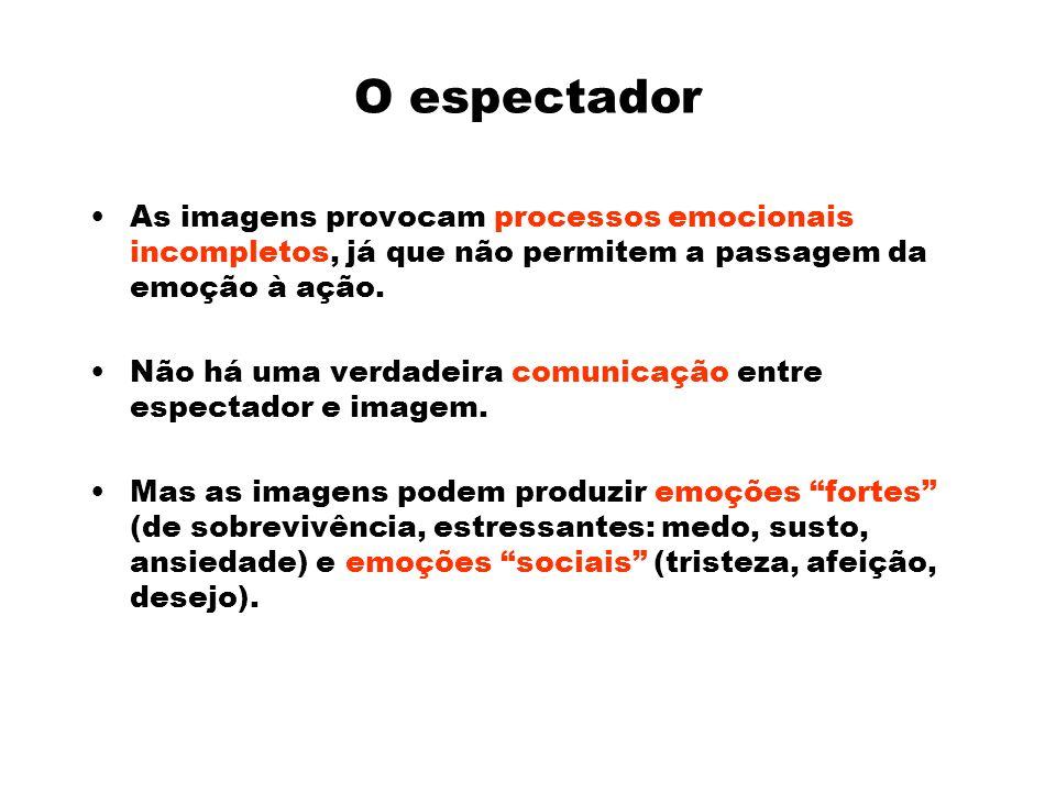 O espectador As imagens provocam processos emocionais incompletos, já que não permitem a passagem da emoção à ação.