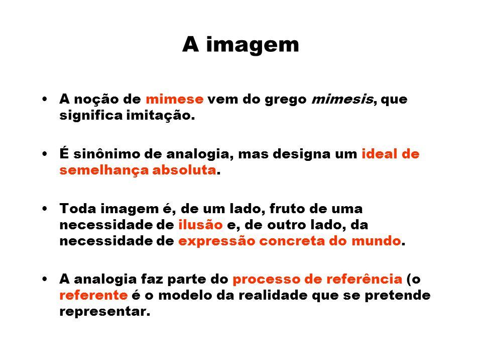 A imagem A noção de mimese vem do grego mimesis, que significa imitação.
