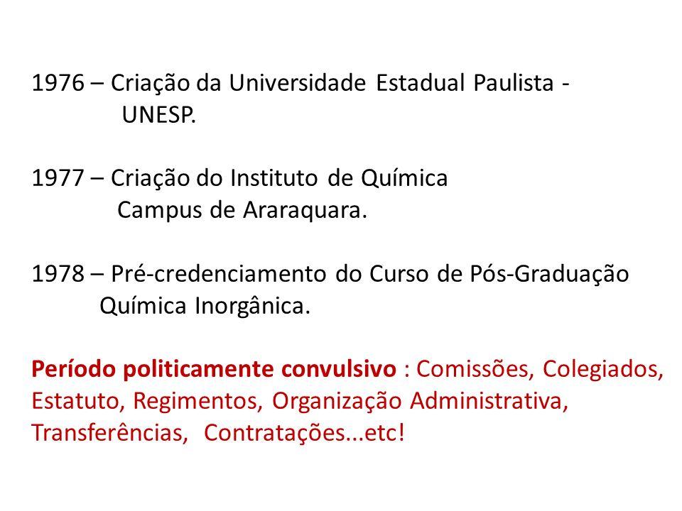 1976 – Criação da Universidade Estadual Paulista - UNESP. 1977 – Criação do Instituto de Química Campus de Araraquara. 1978 – Pré-credenciamento do Cu