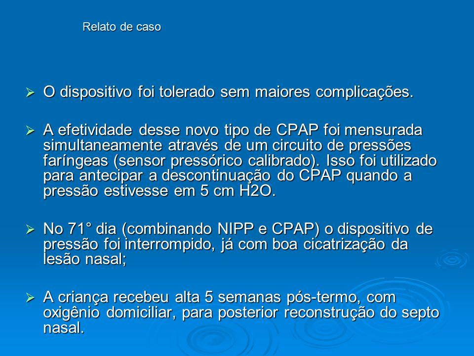 Discussão O suporte respiratório não invasivo tem sido usado cada vez mais cedo e com maior frequência em pré-termos; O suporte respiratório não invasivo tem sido usado cada vez mais cedo e com maior frequência em pré-termos; RN de extremo baixo peso fazem uso de NIPPV e CPAP por longos períodos, consequentemente mais complicações do CIPAP nasal tem sido relatadas, por isso novos métodos alternativos de CPAP devem ser explorados; RN de extremo baixo peso fazem uso de NIPPV e CPAP por longos períodos, consequentemente mais complicações do CIPAP nasal tem sido relatadas, por isso novos métodos alternativos de CPAP devem ser explorados; Quando se usa o CIPAP nasal, sabe-se que as prongas binasais curtas são mais efetivas, porém um dispositivo ótimo de CPAP ainda não está estabelecido; Quando se usa o CIPAP nasal, sabe-se que as prongas binasais curtas são mais efetivas, porém um dispositivo ótimo de CPAP ainda não está estabelecido; O trauma nasal é uma, bem documentada, complicação do suporte respiratório não invasivo (freqüência de 40%).