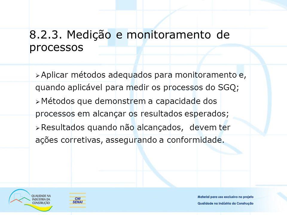Aplicar métodos adequados para monitoramento e, quando aplicável para medir os processos do SGQ; Métodos que demonstrem a capacidade dos processos em alcançar os resultados esperados; Resultados quando não alcançados, devem ter ações corretivas, assegurando a conformidade.