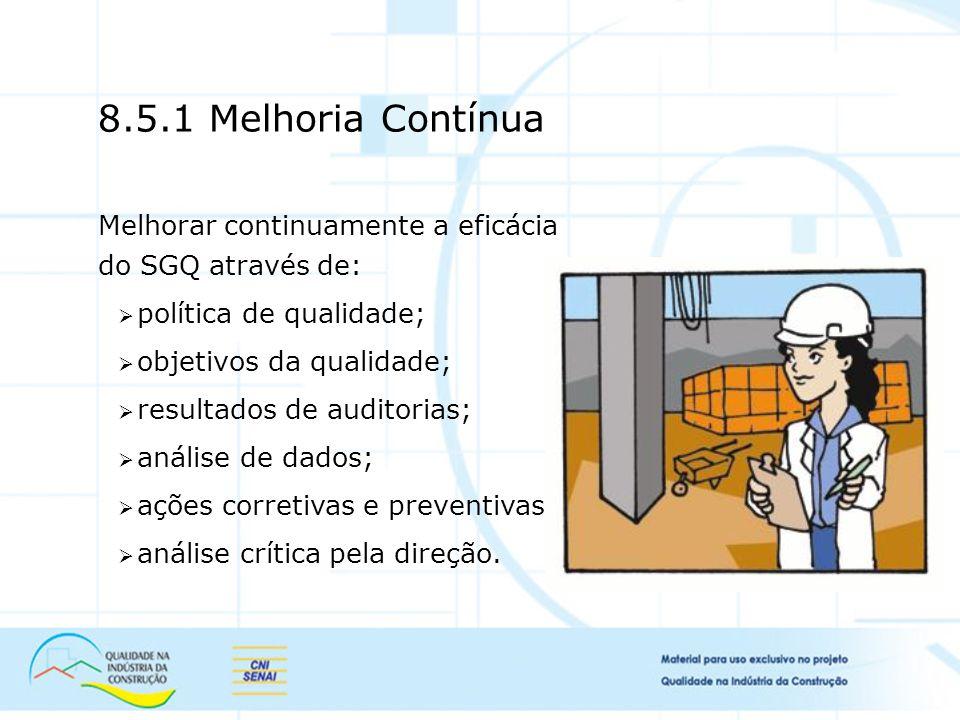 Melhorar continuamente a eficácia do SGQ através de: política de qualidade; objetivos da qualidade; resultados de auditorias; análise de dados; ações corretivas e preventivas; análise crítica pela direção.