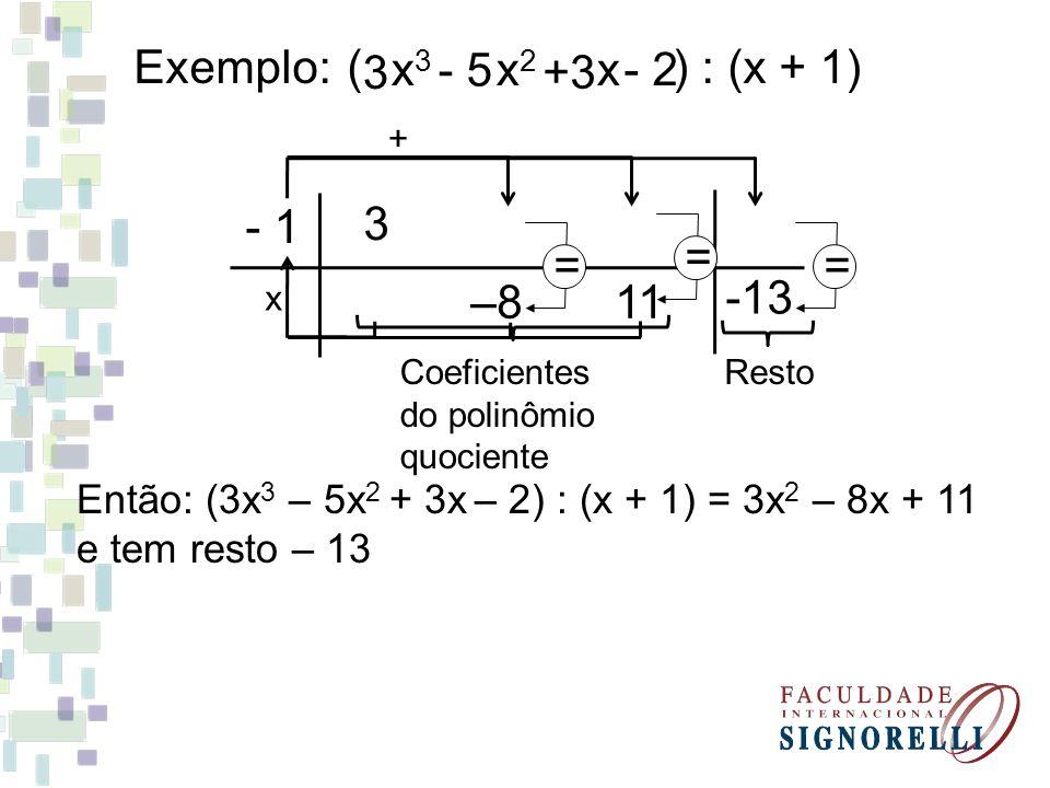 Exemplo:( ) : (x + 1) x 3 x 2 x 3 - 5 +3 - 2 - 1 3 x + –8 = 11 == -13 Coeficientes do polinômio quociente Resto Então: (3x 3 – 5x 2 + 3x – 2) : (x + 1
