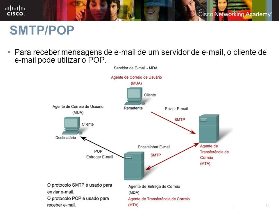 13 © 2007 Cisco Systems, Inc. All rights reserved.Cisco Public Para receber mensagens de e-mail de um servidor de e-mail, o cliente de e-mail pode uti