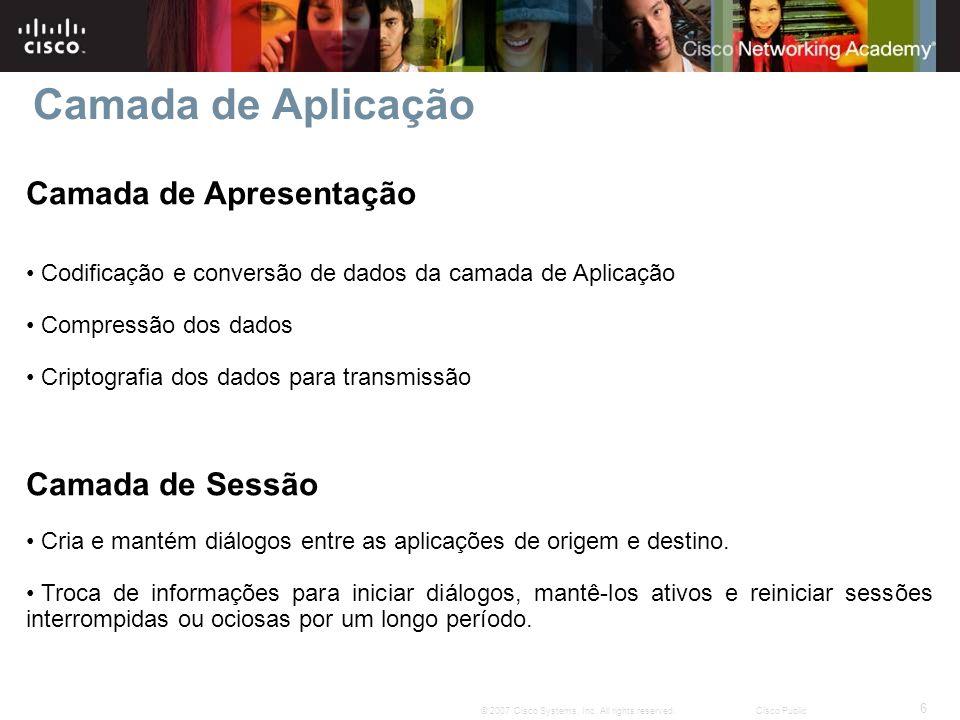 6 © 2007 Cisco Systems, Inc. All rights reserved.Cisco Public Camada de Apresentação Codificação e conversão de dados da camada de Aplicação Compressã
