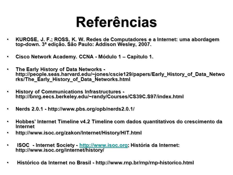 Referências KUROSE, J.F.; ROSS, K. W. Redes de Computadores e a Internet: uma abordagem top-down.