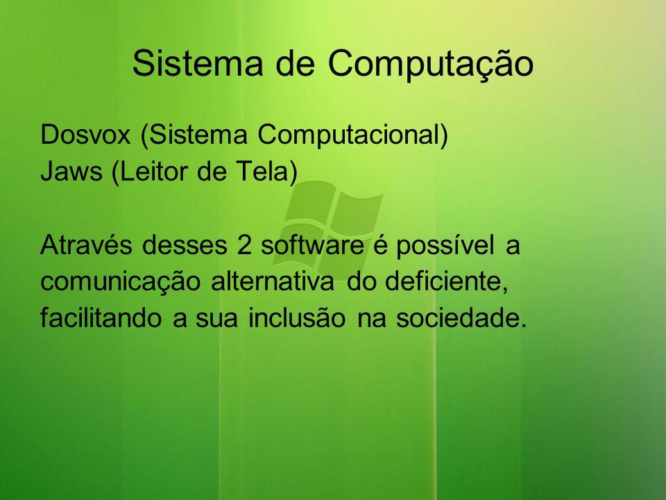 Sistema de Computação Dosvox (Sistema Computacional) Jaws (Leitor de Tela) Através desses 2 software é possível a comunicação alternativa do deficiente, facilitando a sua inclusão na sociedade.