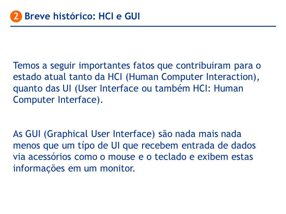 Temos a seguir importantes fatos que contribuiram para o estado atual tanto da HCI (Human Computer Interaction), quanto das UI (User Interface ou tamb