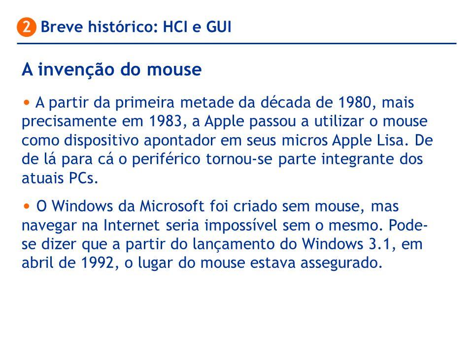 A partir da primeira metade da década de 1980, mais precisamente em 1983, a Apple passou a utilizar o mouse como dispositivo apontador em seus micros