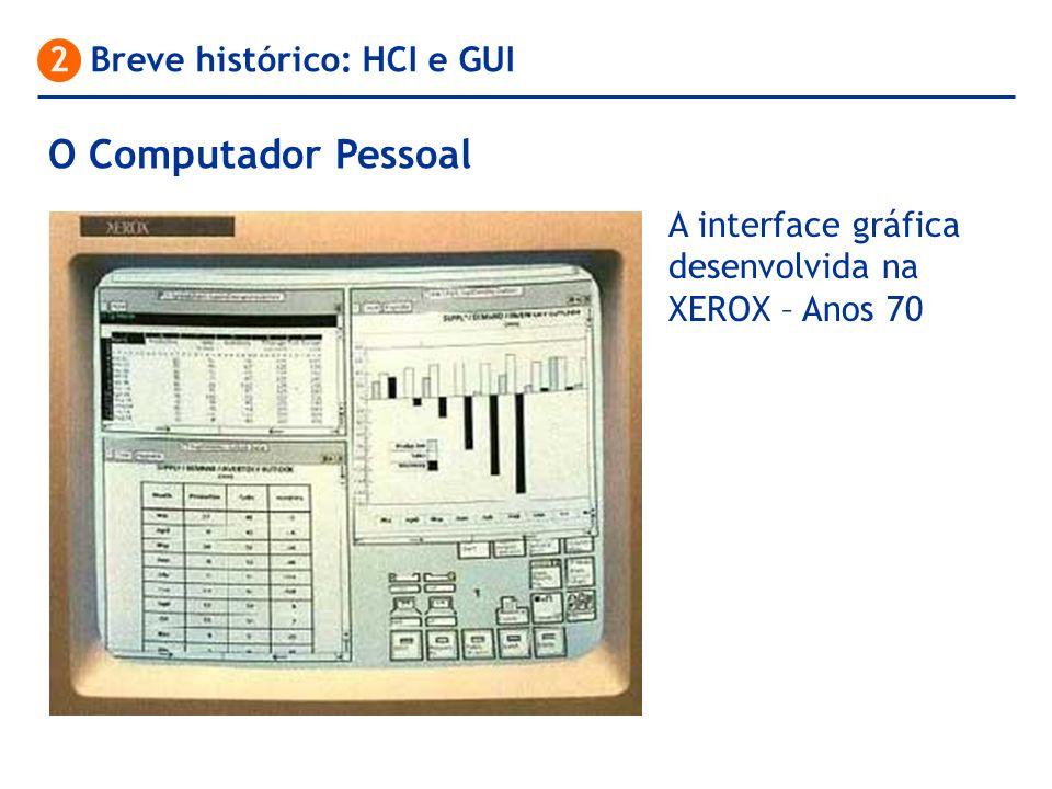 O Computador Pessoal 2 Breve histórico: HCI e GUI A interface gráfica desenvolvida na XEROX – Anos 70