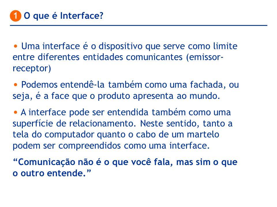 Uma interface é o dispositivo que serve como limite entre diferentes entidades comunicantes (emissor- receptor) Podemos entendê-la também como uma fac