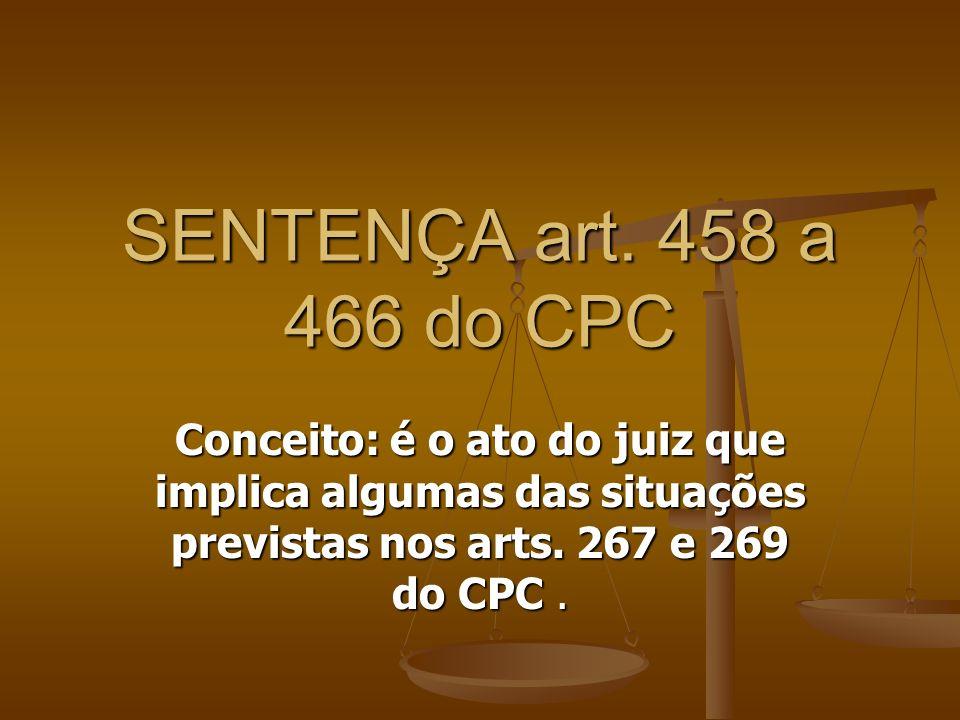 Conceito: é o ato do juiz que implica algumas das situações previstas nos arts. 267 e 269 do CPC. SENTENÇA art. 458 a 466 do CPC