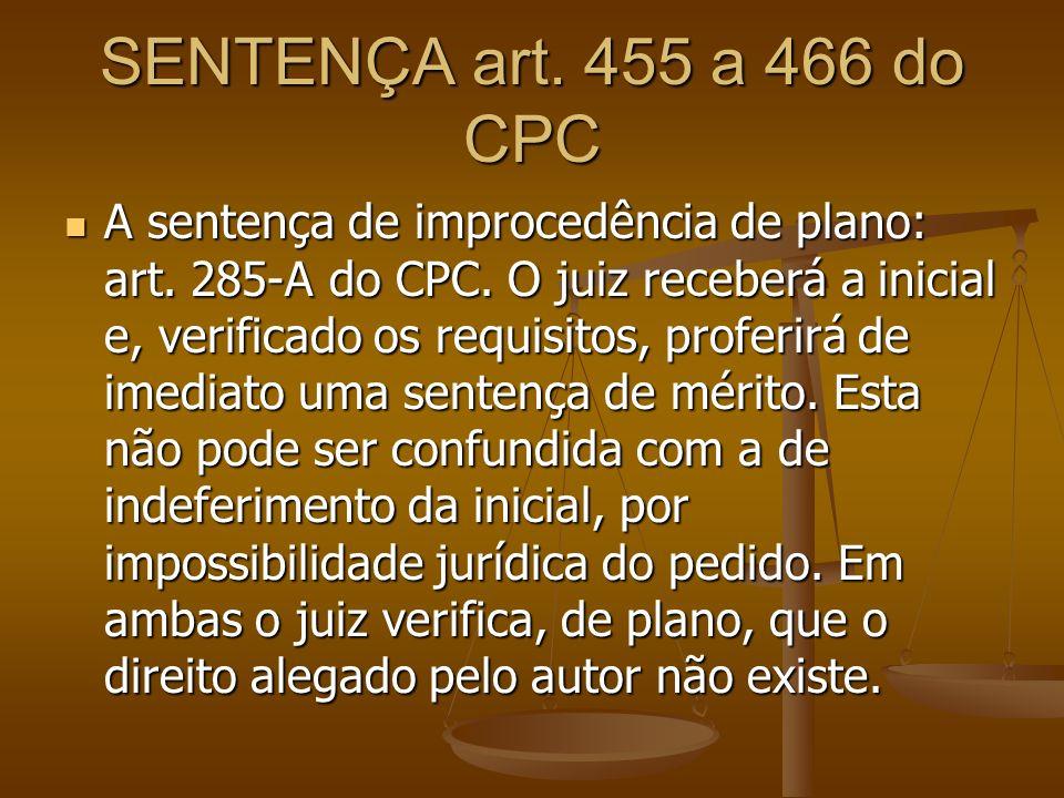 SENTENÇA art. 455 a 466 do CPC A sentença de improcedência de plano: art. 285-A do CPC. O juiz receberá a inicial e, verificado os requisitos, proferi