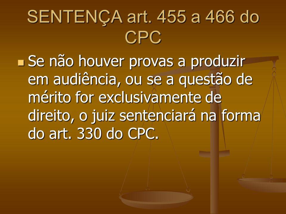 SENTENÇA art. 455 a 466 do CPC Se não houver provas a produzir em audiência, ou se a questão de mérito for exclusivamente de direito, o juiz sentencia