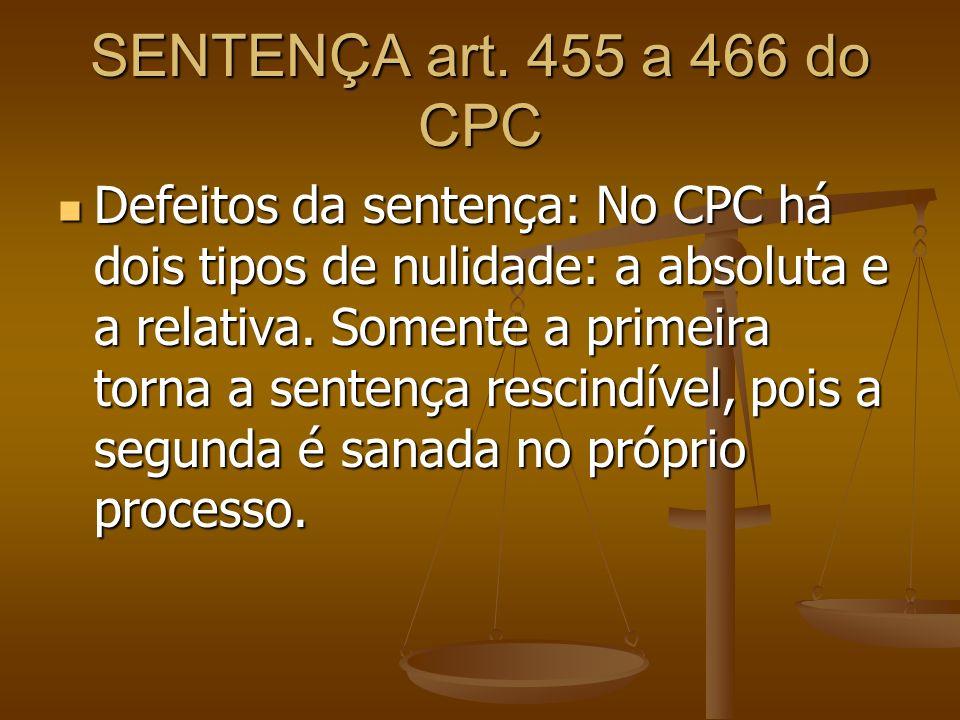 SENTENÇA art. 455 a 466 do CPC Defeitos da sentença: No CPC há dois tipos de nulidade: a absoluta e a relativa. Somente a primeira torna a sentença re