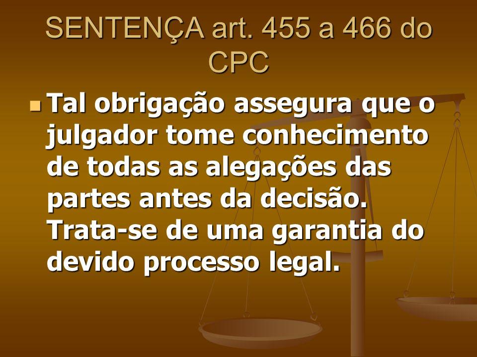 SENTENÇA art. 455 a 466 do CPC Tal obrigação assegura que o julgador tome conhecimento de todas as alegações das partes antes da decisão. Trata-se de