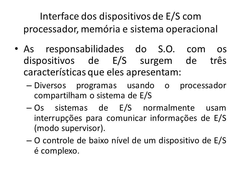 Interface dos dispositivos de E/S com processador, memória e sistema operacional As responsabilidades do S.O. com os dispositivos de E/S surgem de trê